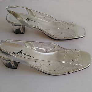 Annie clear block heels open toe silver strap shoe